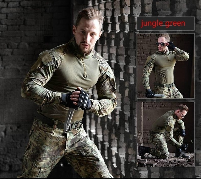 HAN WILD Mens Outdoor Hiking Shirt Military Clothing German Camouflage Uniform Combat Shirt Tactical Clothing for Hunting Males 6