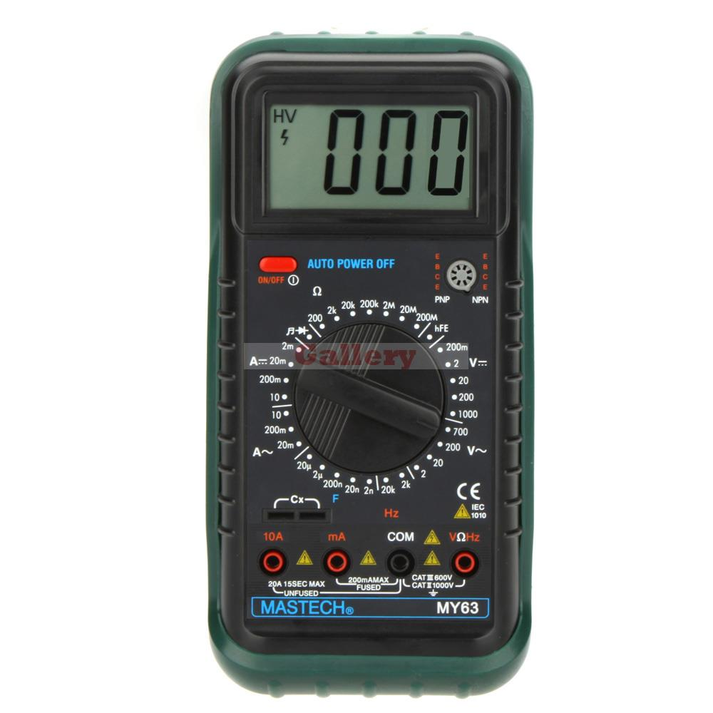 My63 Handheld Lcd Digital Multimeter Dmm W Capacitance Frequency & Hfe Test Professional Tester Meters mastech ms8226 handheld rs232 auto range lcd digital multimeter dmm capacitance frequency temperature tester meters