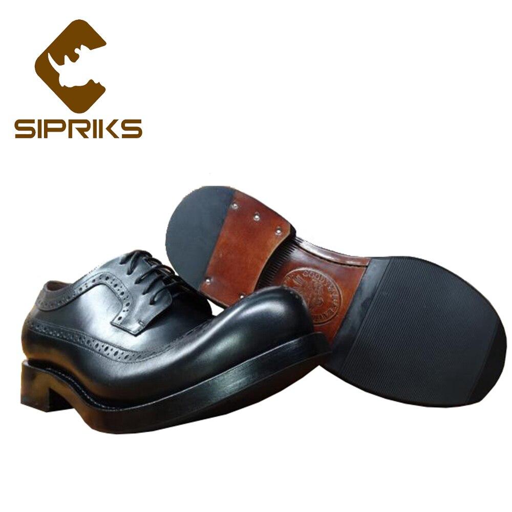 Sipriks Hommes En Cuir Véritable Chaussures Brogue Unique Designer Chaussures Habillées Classiques Personnalisé Italien Goodyear Welt Chaussures Gros Bout Rond