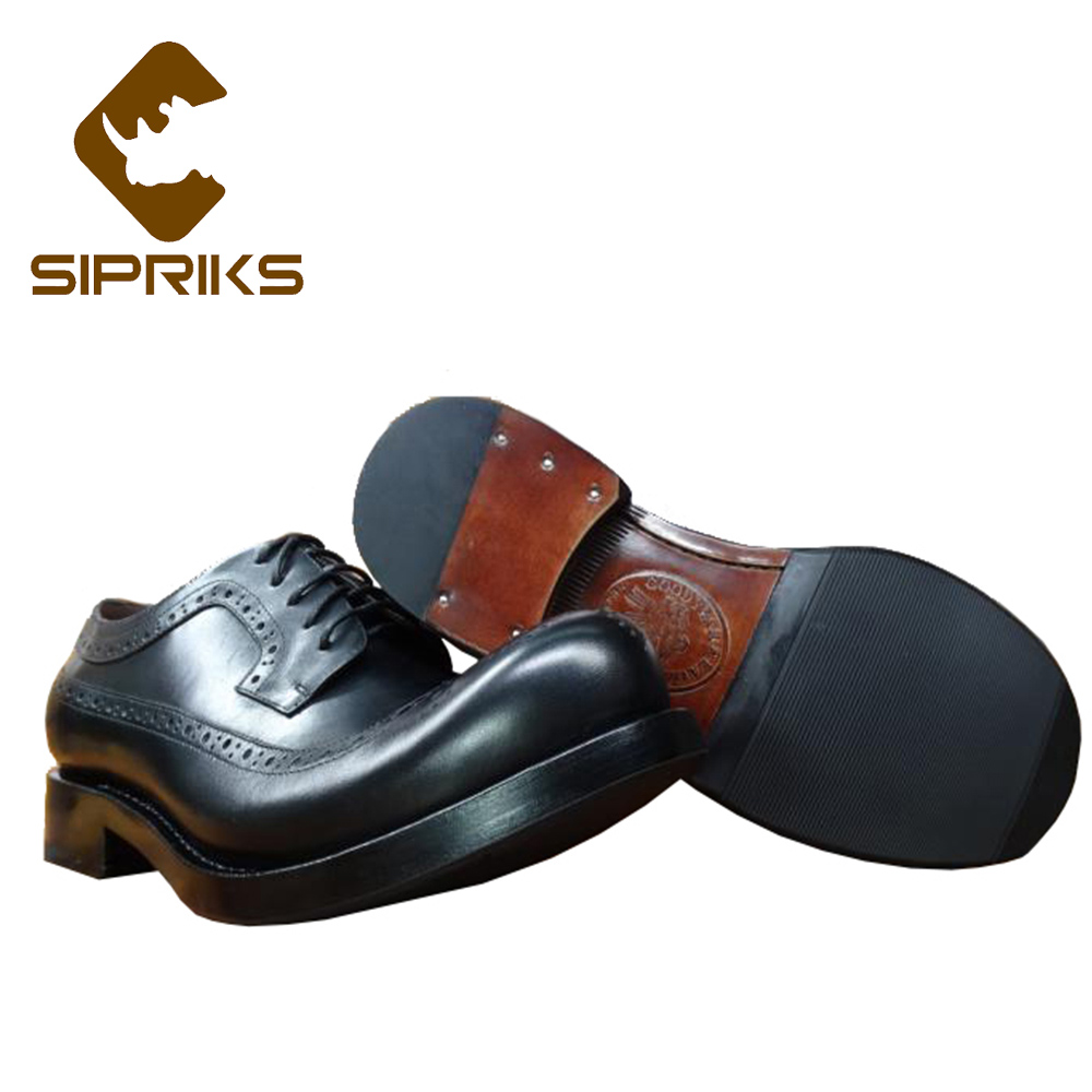 Sipriks Mens Genuine Leather Brogue Shoes Unique Designer Classic Dress Shoes Italian Custom Goodyear Welt Shoes Big Round Toe