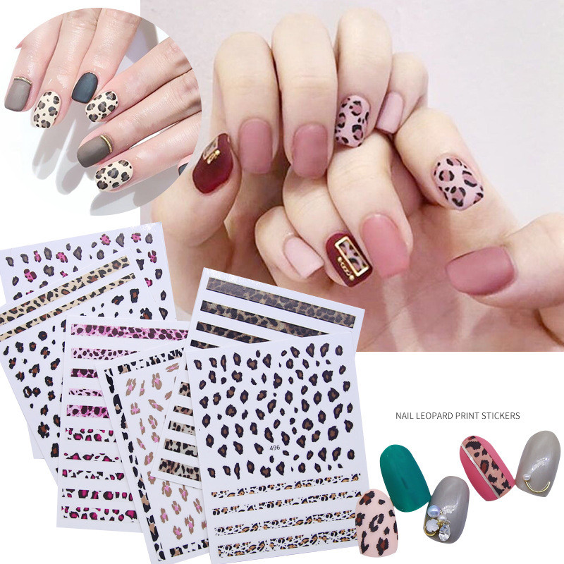 US $1 29 30% OFF|1 Sheet Leopard Animal 3D Nail Art Stickers Self adhesive  Decals DIY Nail Designs Japanese Nail Accessoires for Nail Decorations-in