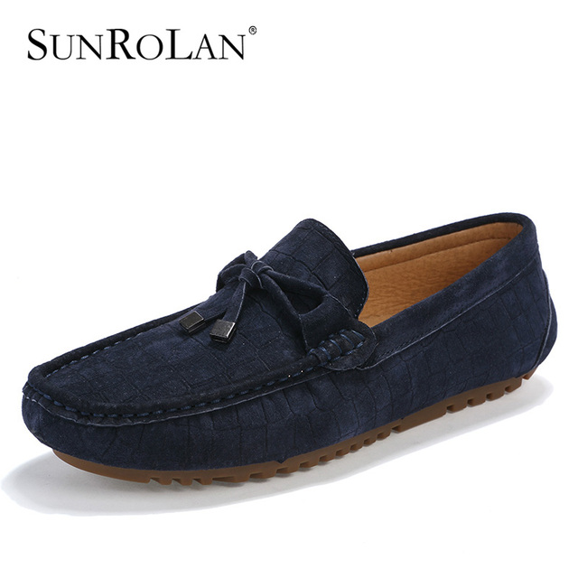 db3c0d2ff2c SUNROLAN 2017 New Spring Men Suede Leather Flats