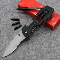 Dcbear 4 Screwdriver Knife 1920 Half Gear Serrated Tool Best Folding Knife 8CR13 58HRC Rubber Handle