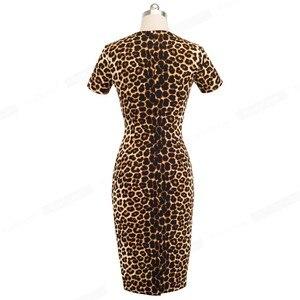 Image 4 - NICE FOREVER VINTAGE ภาพลวงตาเสือดาวสีบล็อกทำงาน vestidos งานปาร์ตี้ Bodycon สำนักงาน Sheath ผู้หญิง B498