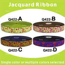 """Free shipping High Quality 10yards 40 yards 1-1/8"""" 28mm Colourful Collocation Flowers Patterns Jacquard Ribbon Q422"""
