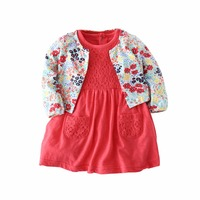 Baby Girl Rompers 2pcs Clothes Set Baby Girl Flower Cardigan Jacket Lace Dress Clothing Set Kids
