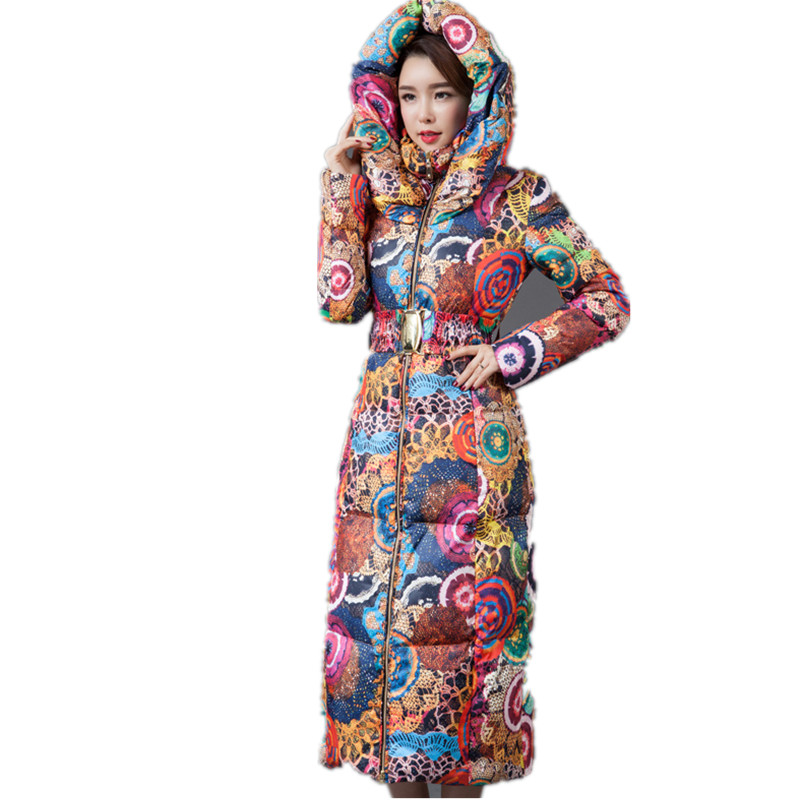 2017 New Wadded Parka Thick Floral Jackets Women Winter Coat  Jacket,Abrigos Mujer,Big Size Long Over Knee Hooded Outwear C2283 new winter jacket women print fur collar long parka cotton wadded maxi coats warm hooded jackets winter coat abrigos mujer c3500