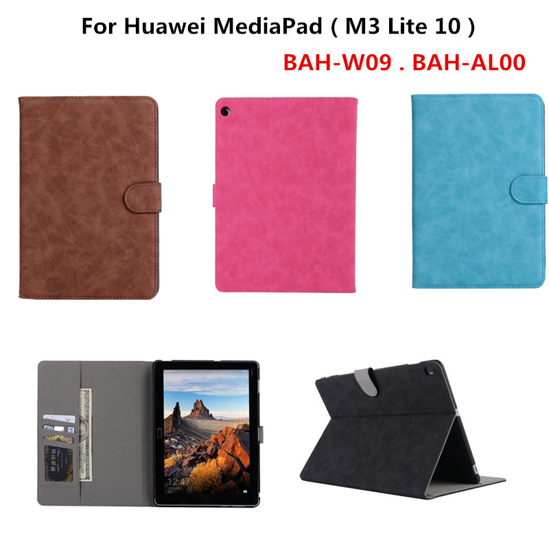 M3 Lite 10.0 PU Leather Case Flip Wallet Satnd Cover For Huawei MediaPad M3 Lite 10 BAH-W09 BAH-AL00 10.1 inch Tablet PC luxury pu leather cover business with card holder case for huawei mediapad m3 lite 10 10 0 bah w09 bah al00 10 1 inch tablet