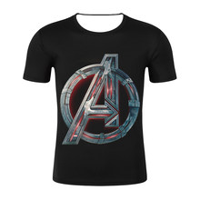 Men T Shirt Avengers 4 Logo Tshirt Infinity Symbol T-shirt 3D Metal Marvel Tops Captain Tees Fashion Superhero Clothes Venom(China)