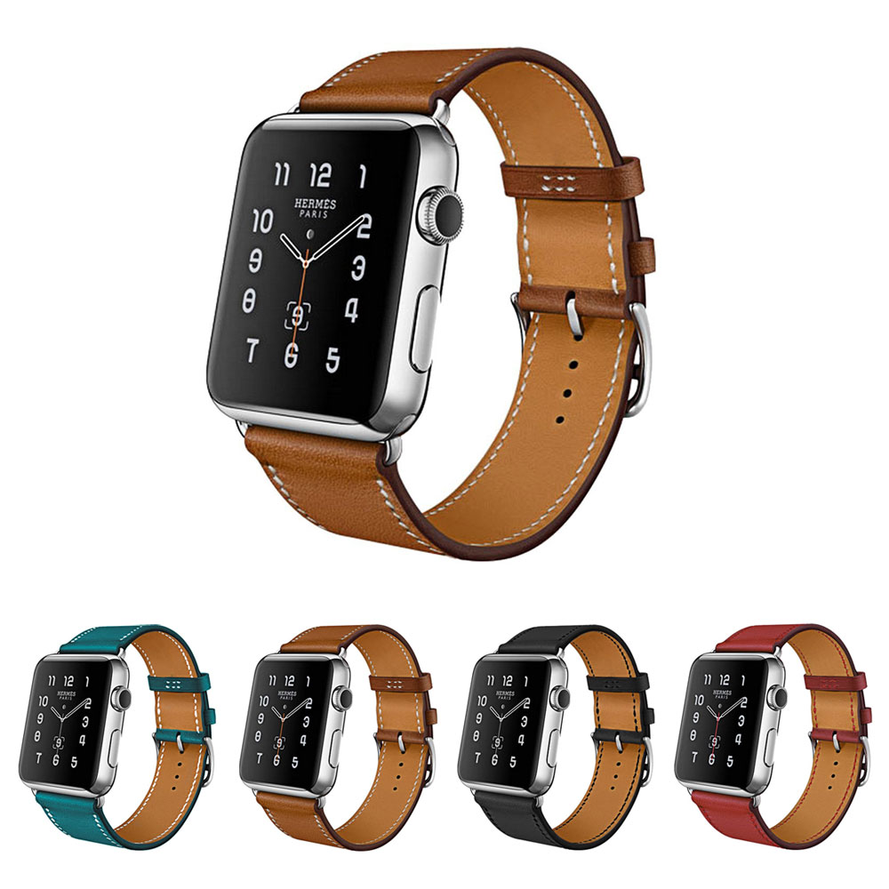 Genuine Leather Strap For Apple Watch band Series 3 42mm 38mm Leather Bracelet For Iwatch Strap Band Series 1 & 2 genuine leather watch strap with lugs adapters for apple watch 42mm series 1 series 2 us flag
