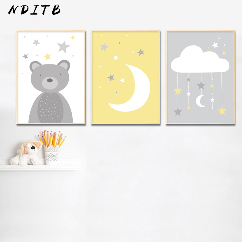 Baby Nursery Wall Art Poster Bear Moon Cloud Canvas Wall Art Print Cartoon Painting Decorative Picture Nordic Kids Bedroom Decor