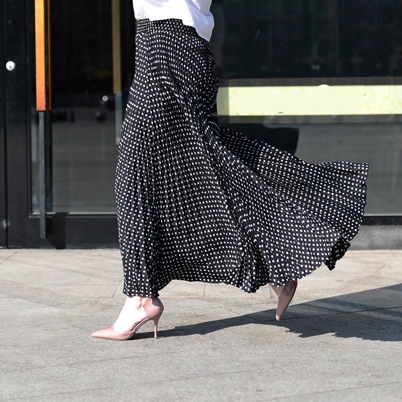 2017 Fashion Design Vintage High Waist Plisserte Kjoler Kvinner Maxi Kjørt Svart Og Hvit prikk Faldas Saia Long Kjørt