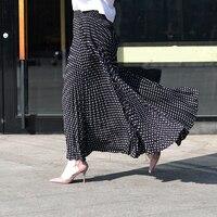 2017 Fashion Design Vintage High Waist Pleated Skirts Women Maxi Skirt Black And White dot Faldas Saia Long Skirt