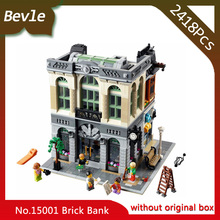 Bevle Store LEPIN 15001 2413Pcs  Street view Series Creator Brick Bank Model Building Blocks set Bricks For Children Toys 10251