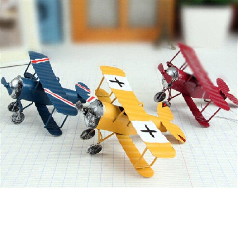 Randomly Vintage Metal Plane Model Photography Props Kids Toys Iron Retro Aircraft Glider Biplane Pendant Airplane Model Toy