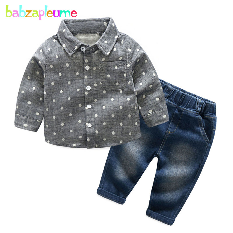 2PCS/3-24Months/Spring Autumn Newborn Clothing Set Fashion 100% Cotton Infant Shirt+Jeans Baby Boys Clothes For Kids Suit BC1440