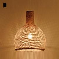 Round Craft Bamboo Wicker Rattan Cage Lantern Shade Pendant Light Fixture Asian Country Vintage Japanese Suspended Lamp Tea Room