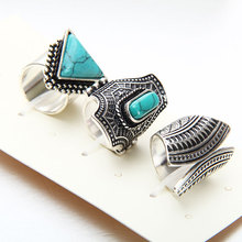 Hot Vintage Ring Set Punk Silver Gold-color Stone Rings For Women/Men Finger Ring 3 PCS Ring Set Best Selling 2017New Fashion