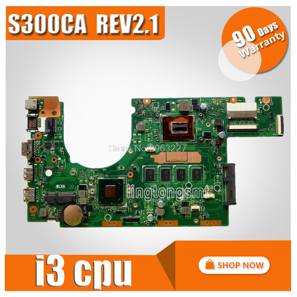 FOR ASUS S300CA Laptop Motherboard i3CPU REV2 1 S300C mainboard 60NB00Z0 MBE010 100 tested