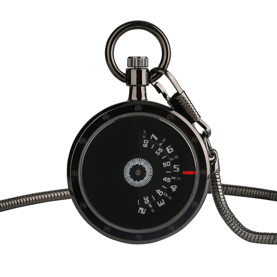Vintage Black Numerals Time Read Retro Quartz Pocket Watch With 30cm Chain No Cover Design Men Watches Creative Clock Gifts