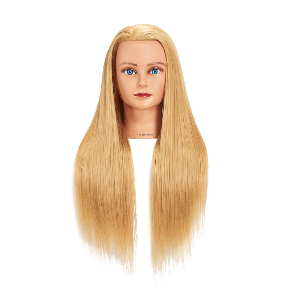"Traininghead 26-28"" Mannequin Head Synthetic Long Hair Golden Wig Hairstyles Cosmetology Hairdressing Bride Training Head Female"