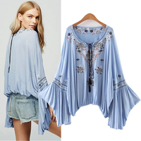 Women Casual Loose Big Flare Long Sleeve Embroidery Nationality Shirt Holiday Style Blouse