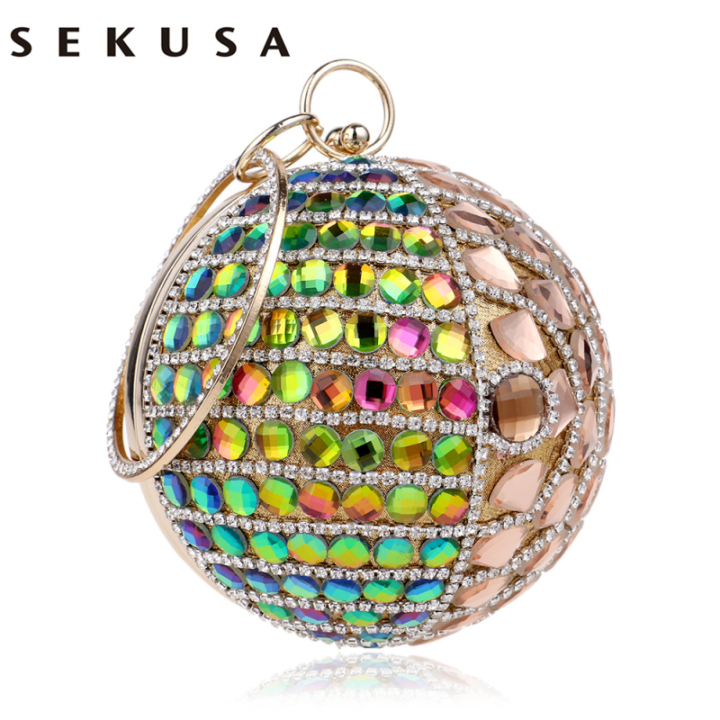 SEKUSA New Arrival Beaded Women Evening Bags Diamonds Handbags Rhinestones Purse Day Clutches Evening Bag Circular Shaped excelsior new arrival day clutches bag purse clutch handbags shiny ultrathin women evening party bags gold sequins envelope bag