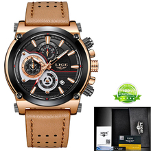 LIGE New Mens Watches  Casual Leather LIGE9854
