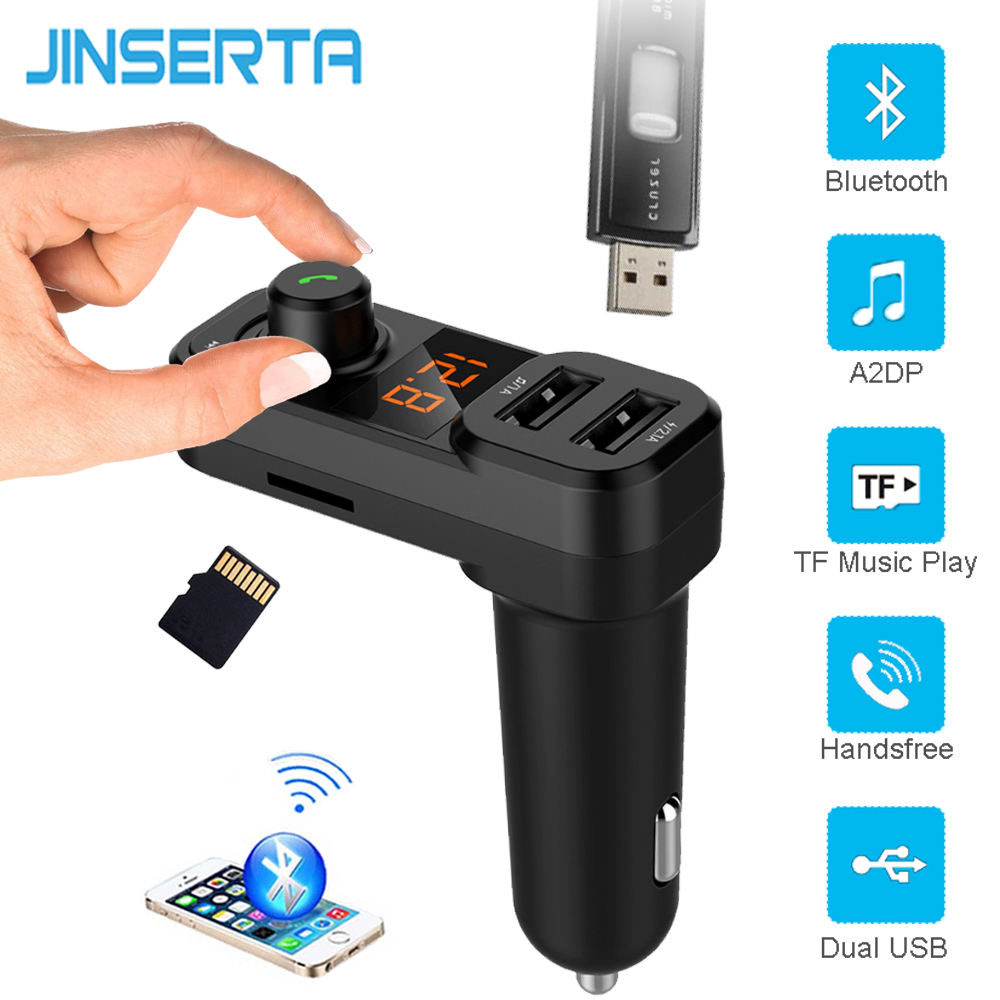 JINSERTA QC3.0 USB Charger Dual Port Bluetooth FM Transmitter Car Kit MP3 Player Handsfree TF USB Lossless Music Players FLAC