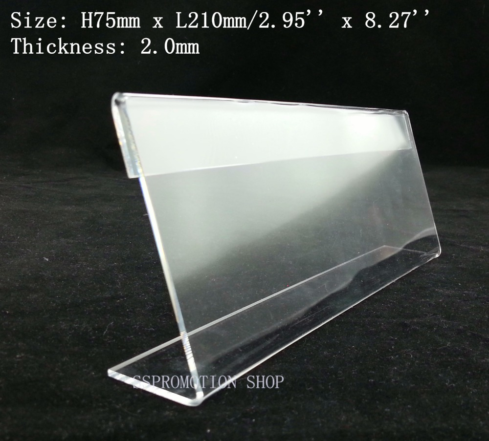 Clear 7 5x21cm T2mm L Plastic Acrylic Sign Display Paper
