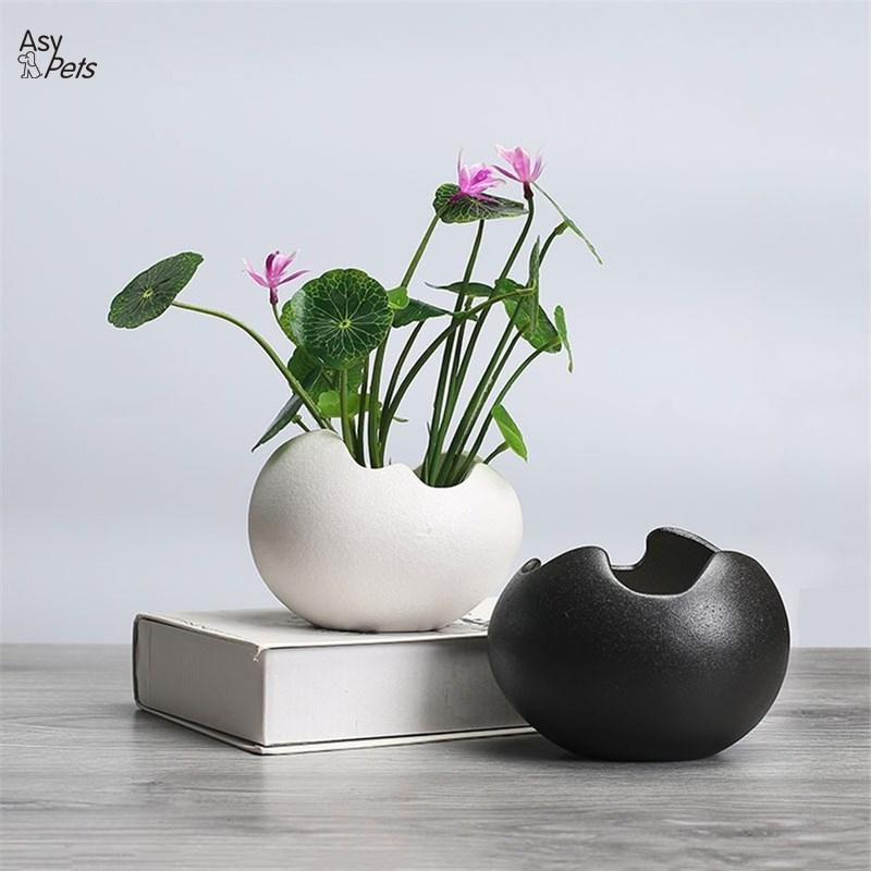 Creative Ceramic Egg shaped Flowerpot Simple Hydroponic Plant Container as Decorations 25|Flower Pots & Planters| |  - title=