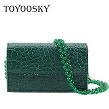 TOYOOSKY Fashion Crocodile Pattern Crossbody Bags For Women 2019 Beading Strap PU Leather Handbag Ladies Designer Shoulder