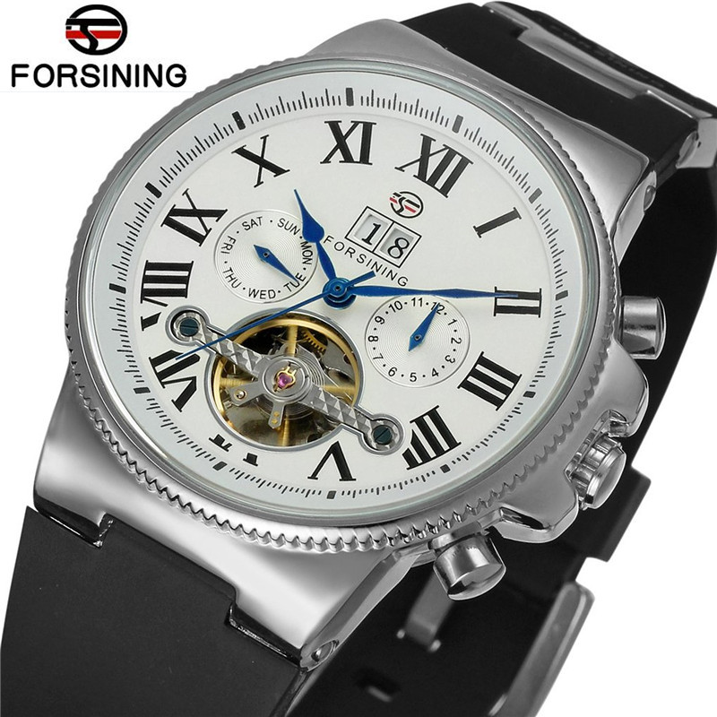 Forsining Casual Man Watches Reloj Hombre Day Roman Number Flywheel Auto Mechanical Watch Wristwatch Gift Free Ship
