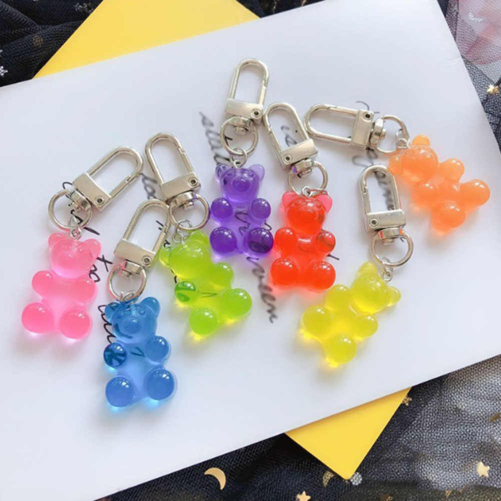wholesale  resin gummy bear keychain flatback resin pendant charms resin keyring for woman jewelry
