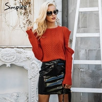 Simplee Sexy Cold Shoulder Knitted Sweater Women Casual Hollow Out Sweater Pullover Female Autumn Winter Streetwear