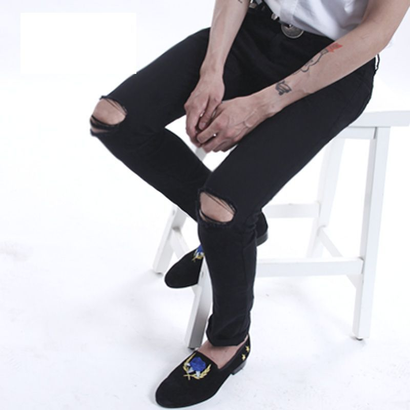 2015 new mens ripped jeans for men skinny Distressed slim fit  designer biker hip hop  black jeans for men  new 2016 fashion mens cotton ripped jeans pants with rivet men slim fit white black hip hop distressed biker jeans z17
