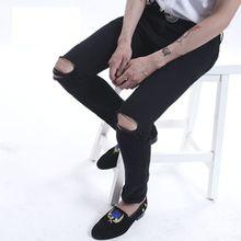 2015 new mens ripped jeans for men skinny Distressed slim fit  designer biker hip hop  black jeans for men