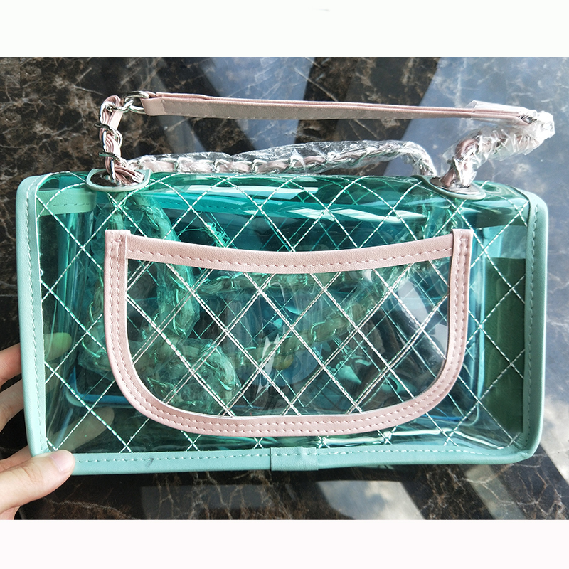 Transparent Flap PVC Plaid Bag Sheer Clear Chains Shoulder Messenger bag Candy Jelly Crossbody Women Summer Fashion Handbag denim vintage quilted across bag women s blue jean plaid stylish brand fashion flap chain crossbody shoulder bag purse handbag