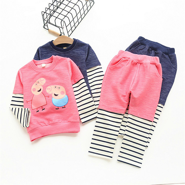 Novo 2016 outono Meninas Do Bebê porco dos desenhos animados Veste Terno dos Esportes T-shirt de Manga comprida + calças Dos Miúdos Das Crianças Conjuntos de Roupas