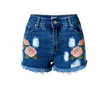Floral Embroidery Shorts Ladies Ripped Denim Short 2016 New Arrivals Slim Fit Tassel Shorts Free Shipping