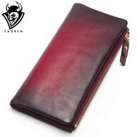 2018 New Arrival Women Wallet Genuine Leather Vintage Female Day Clutches Long Design Clutch Two Fold