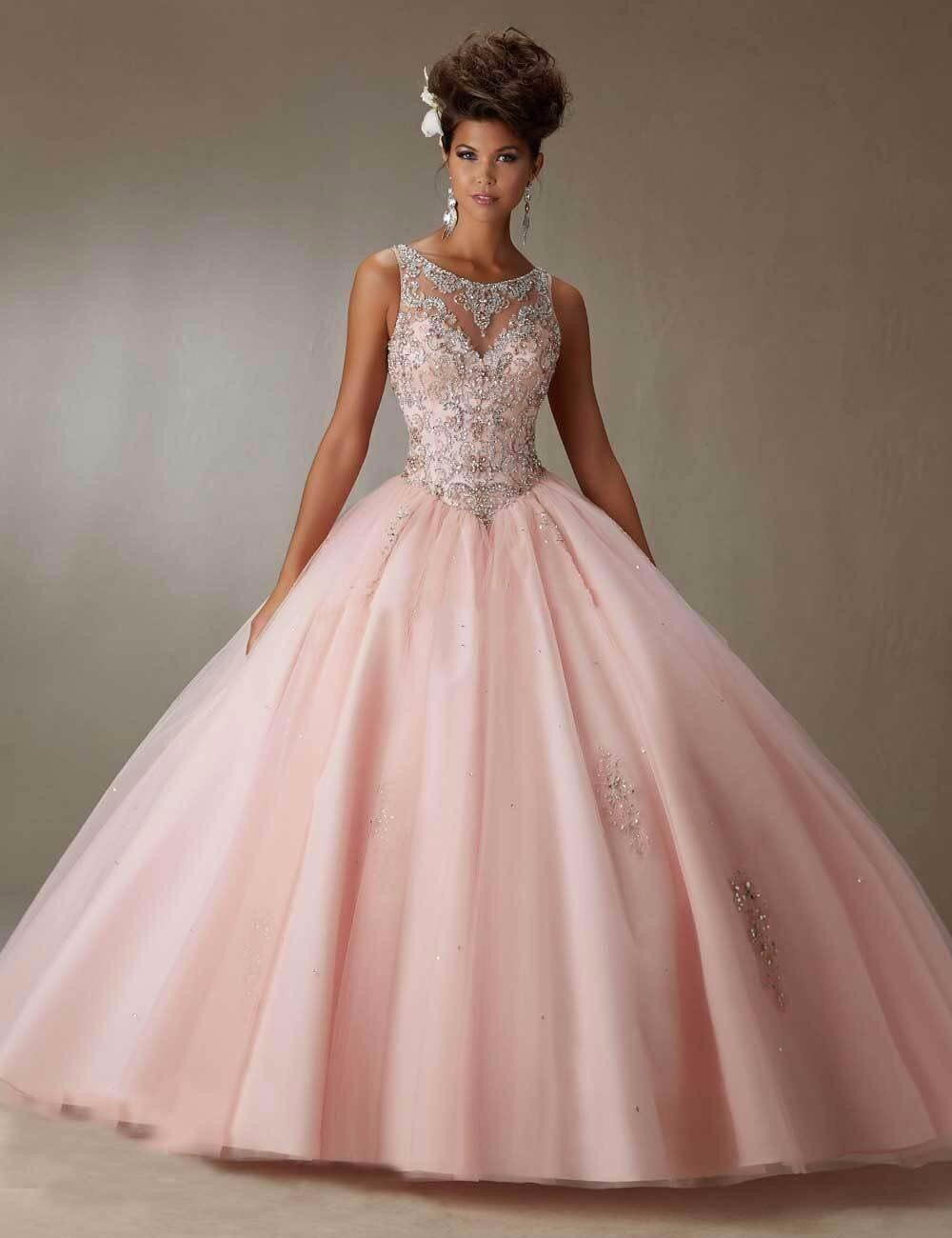 Nuevos vestidos de 15 anos 2017 Sky Light Blue/Pink Quinceanera Del ...