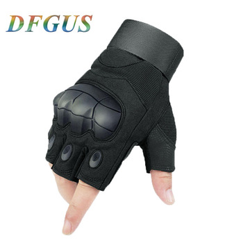 Outdoor Tactical Gloves Military Armed Combat Paintball Airsoft Hunting Cycling Riding Shooting Knuckle Half Finger Glove Hiking outdoor cycling riding half finger gloves blue pair size xl
