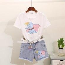 5e715630d Verano Mujer T camisa Tops de moda lentejuelas pequeño elefante de  impresión de manga corta Camiseta + Pantalones vaqueros panta.