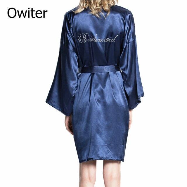 20 Colors Personalised Bridesmaid silk Robe Satin Wedding Bathrobe Kimono  gown aac04d3ce