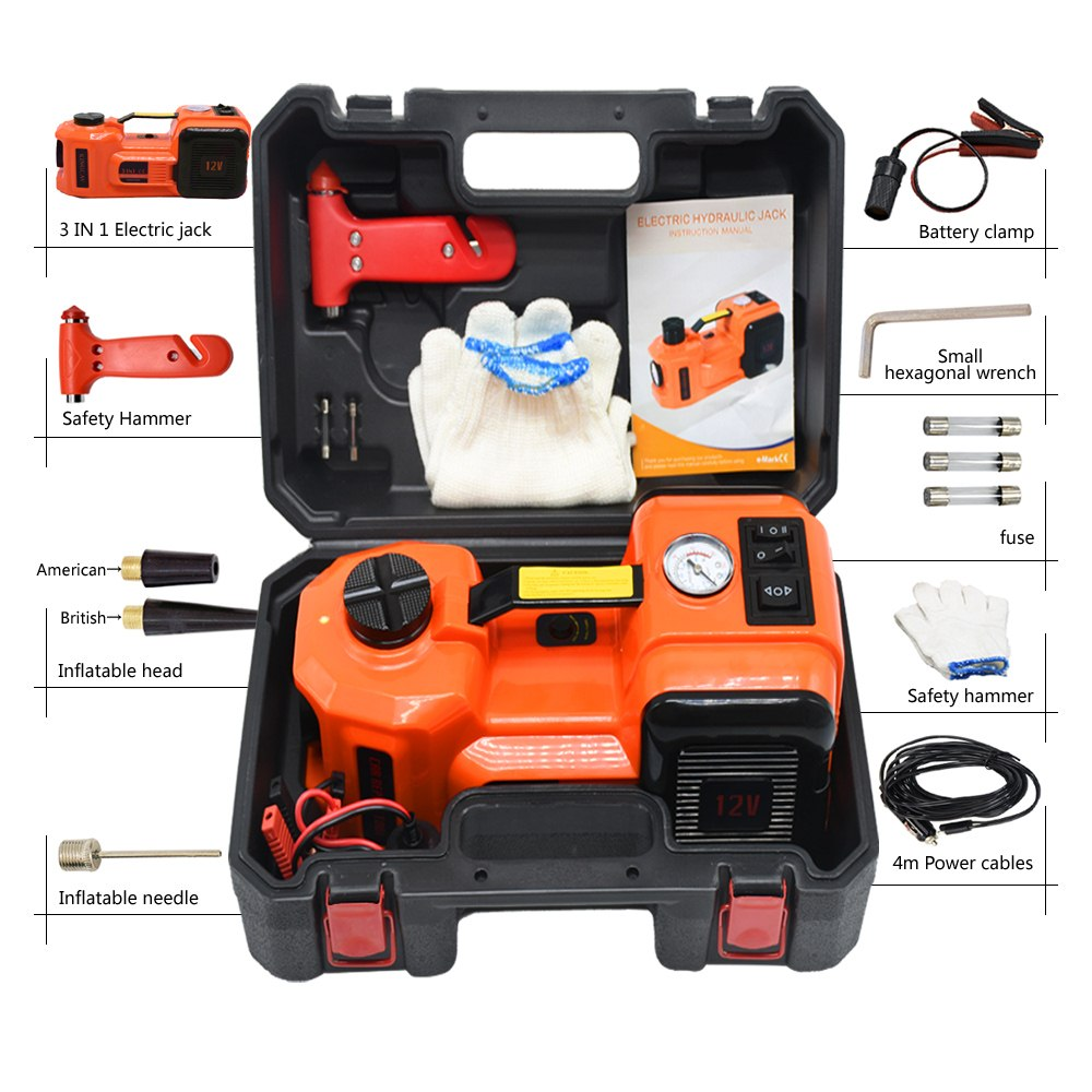 12V 5Ton Car Electric Jacks Hydraulic Floor Jack Set Tire Replacing Repair Tools Kit Impact Wrench Tire Inflator LED Light