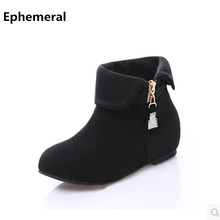 Women's Lovely Turning Over Boot Big size 11 12 Flock Crystal Fur Height Increasing Wedges Low Heels Booties Botas Women Shoes