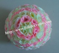 40cm mix pink & off-whhite plastic Christmas artificial rose flower ball,weddings decoration
