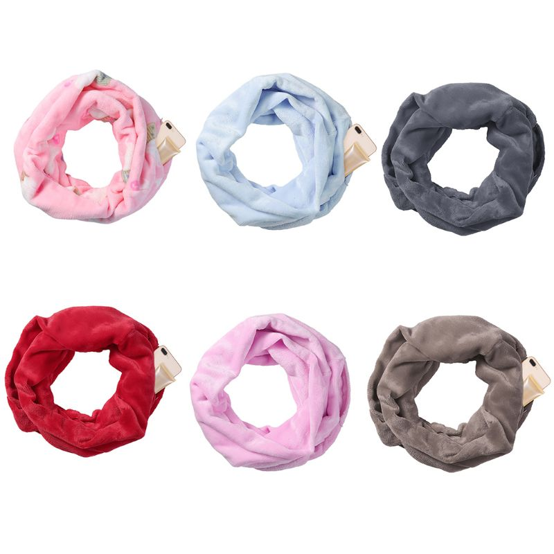 Women   Scarf   Solid Color Infinity Fashion   Scarves     Wrap   Hidden Zipper Pocket Travel Winter   Scarf