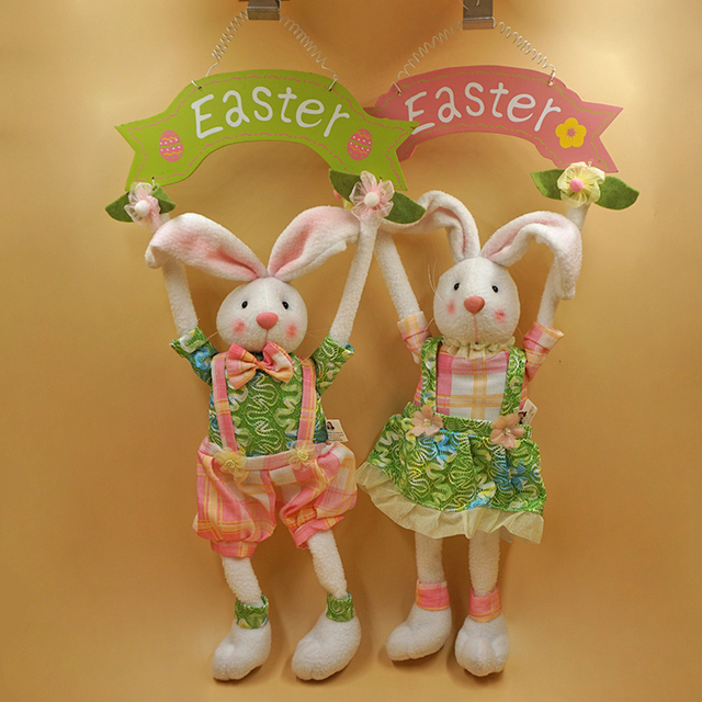 The easter bunny rabbit easter holiday gifts hanging wood fabric the easter bunny rabbit easter holiday gifts hanging wood fabric handmade jewelry creative ornaments recommended negle Images
